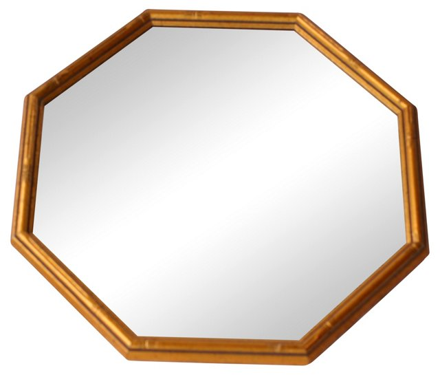 Octagonal Faux-Bamboo Mirror