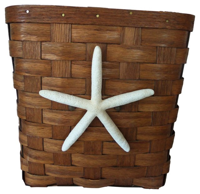 Wood Basket w/ Starfish