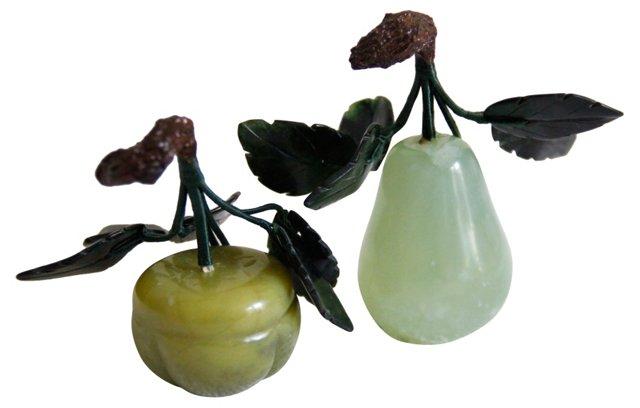 Jade Stone Fruit, Pair