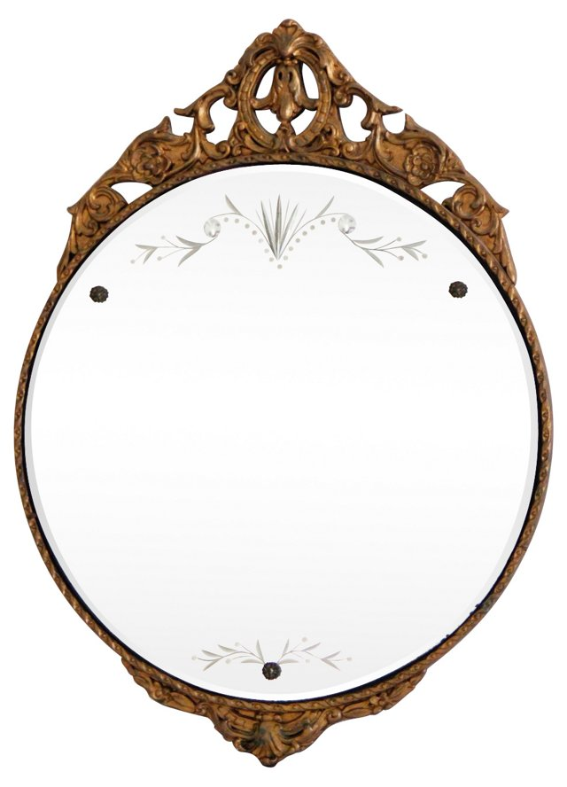 Ornate Etched Gesso Wall Mirror