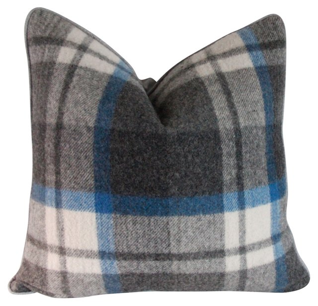 Charcoal & Blue Wool Plaid Pillow
