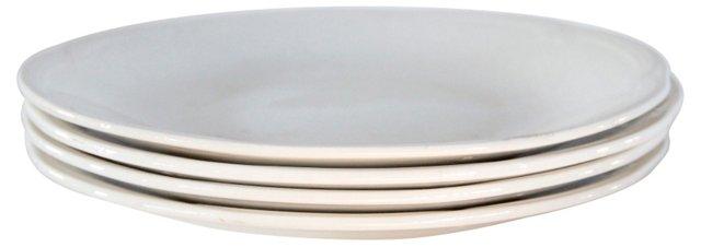 White Ironstone Plates, S/4