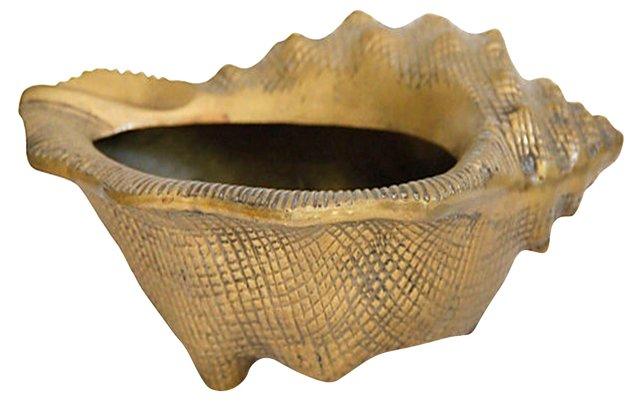 Coastal Brass Conch Planter