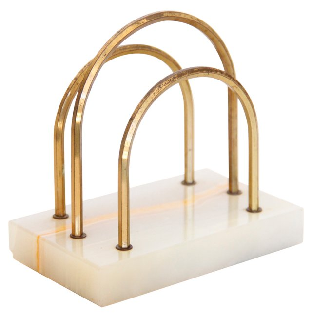 Onyx & Brass Letter Holder