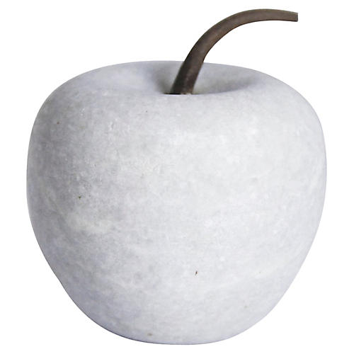 Solid White Marble Apple