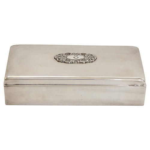 Monogrammed Silver Jewelry Box