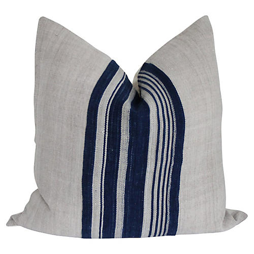 French Flax Linen & Mali Striped Pillow