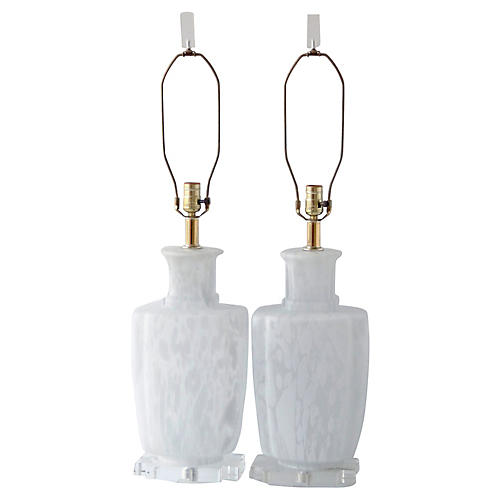 Bauer Murano Glass & Lucite Lamps, Pair