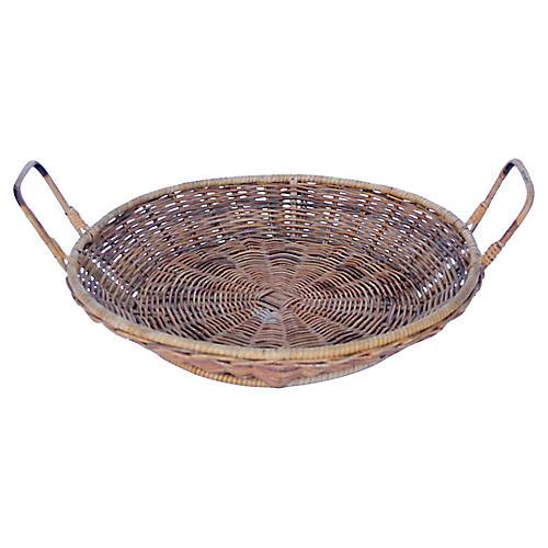 Bamboo & Rattan Tray Basket