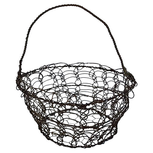 19th-C. French Wire Egg Gathering Basket