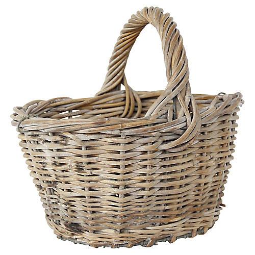 French Harvest Basket w/ Wire Base