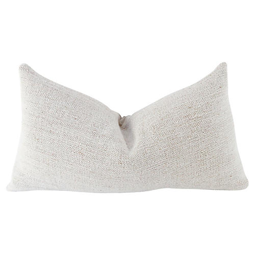 19th C. Herringbone Linen Lumbar Pillow