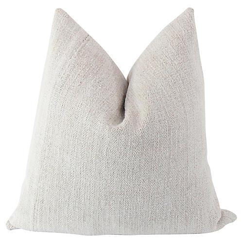 19th-C. French Herringbone Linen Pillow