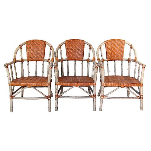 Palecek Faux Lodge Pole Chairs, S/3