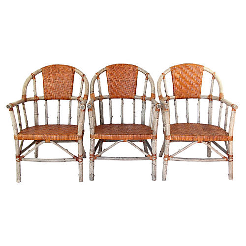 Palecek Faux Lodge Pole Chairs, S/3