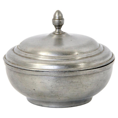 French Pewter Covered Bowl