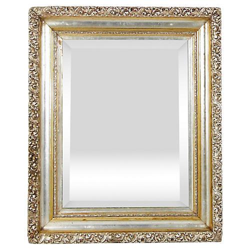 19th-C. French Silver & Gold Leaf Mirror