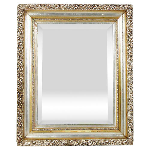 19th-C. French Silver & Gold Leaf Mirror