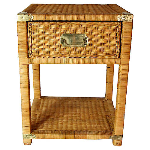 Campaign-Style Rattan & Brass Side Table