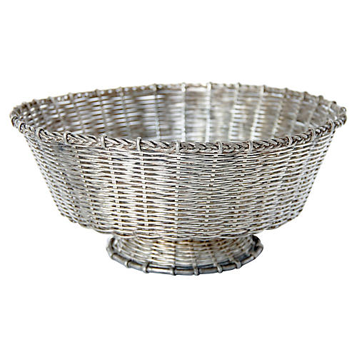 19th-C. French Silver Bread Basket