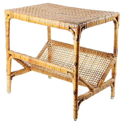 Woven Reed Bamboo Table