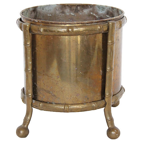 Brass Bamboo-Style Cachepot w/ Stand