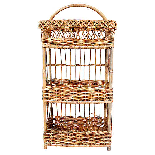 French Rattan Boulangerie Stand