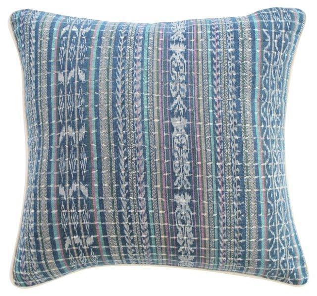 Guatemalan Blue Ikat   Pillow