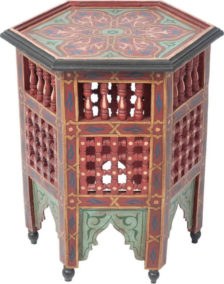Moroccan Painted Accent Table