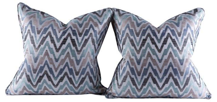 Ombré Chevron Pillows, Pair