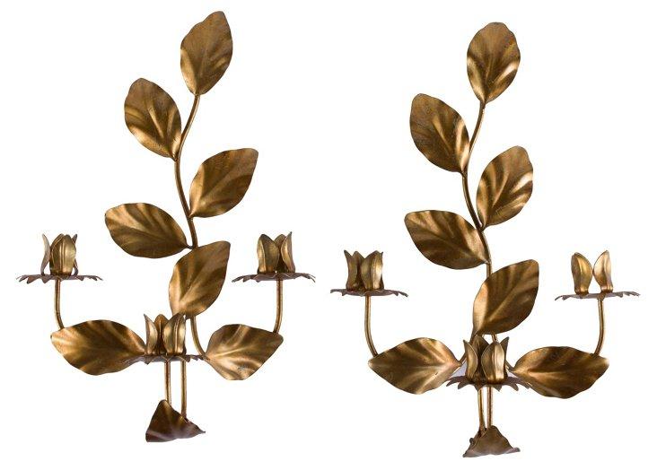 Tole Leaf Sconces, Pair