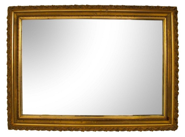 Antique Gilt Mirror w/ Leaf Design