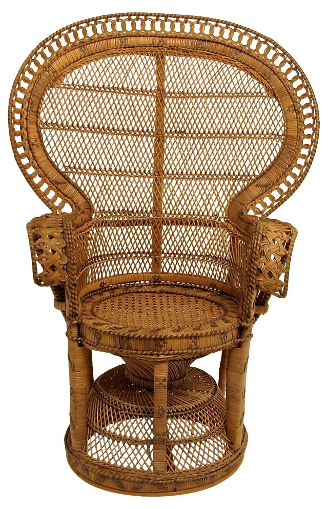 Antique Wicker & Rattan Peacock Chair