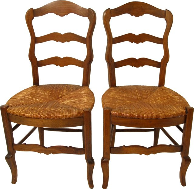 French Country Cherry Wood Chairs, Pair