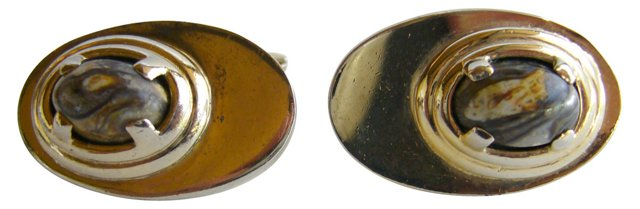 1960s Sterling Agate Cuff Links