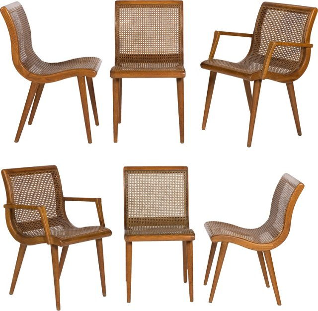Danish Modern Caned Chairs, Set of 6