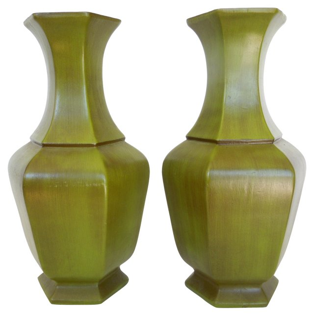 1970s Hand-Painted Vases, Pair