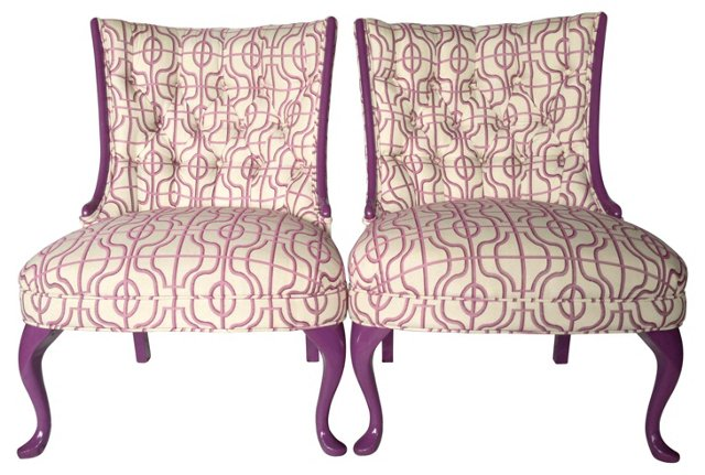 Diamond Tufted Slipper Chairs, Pair