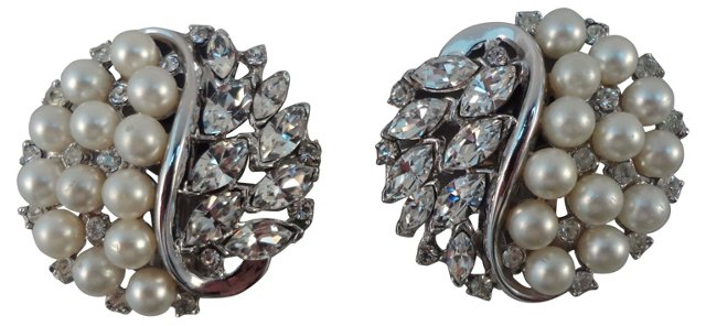 Trifari Faux-Pearl Earrings