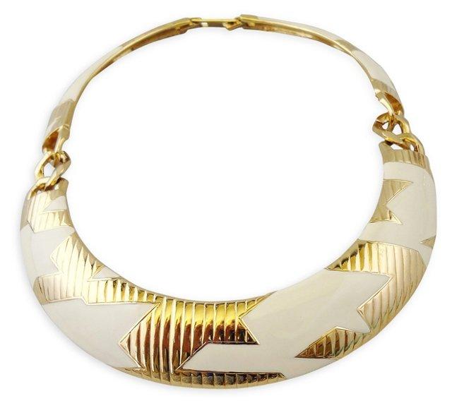 Monet White Enamel Collar Necklace