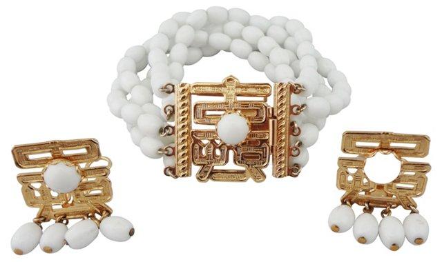 1960s Napier Bracelet & Earring Set