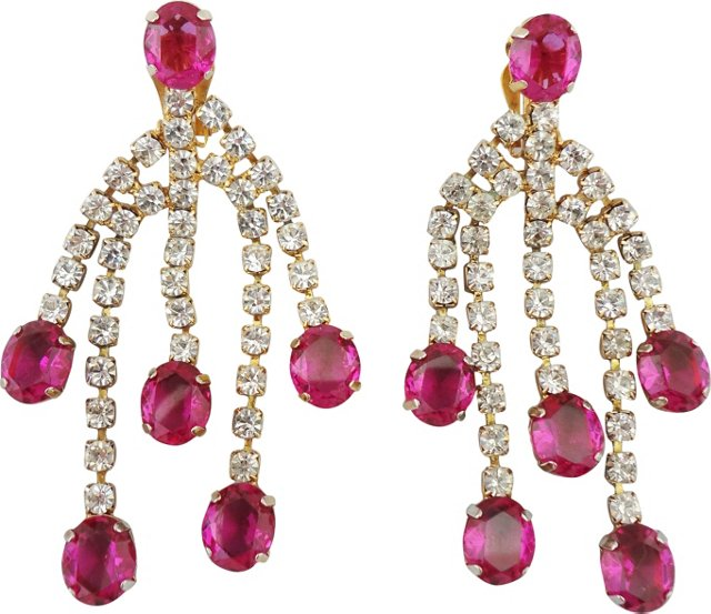 Faux-Ruby Chandelier Earrings