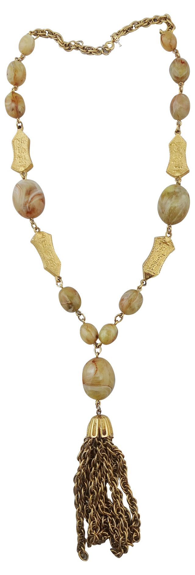Trifari Faux-Jade Tassel Necklace