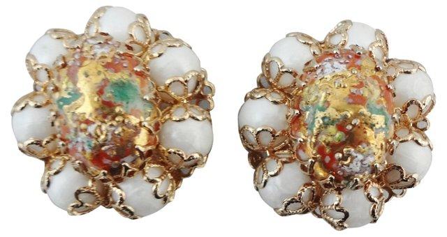 1960s Art Glass Cabochon Earrings