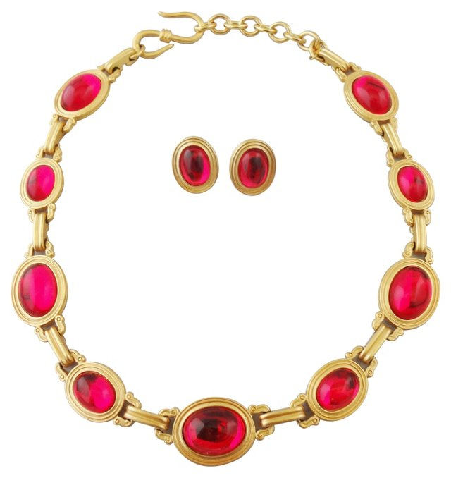 Monet Faux-Ruby Necklace & Earrings