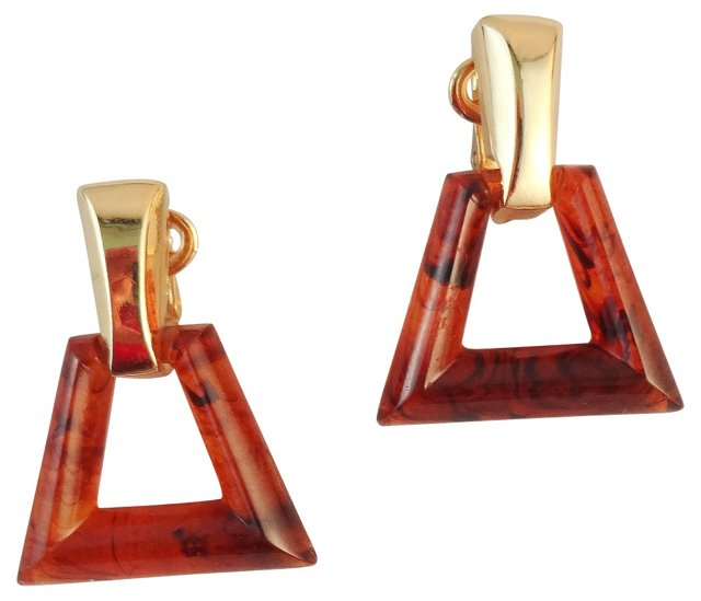 Trifari Faux-Tortoise Earrings