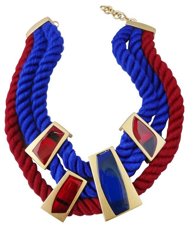 Monet Enamel & Rope Necklace