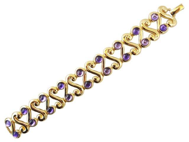 Trifari Faux-Amethyst Bracelet