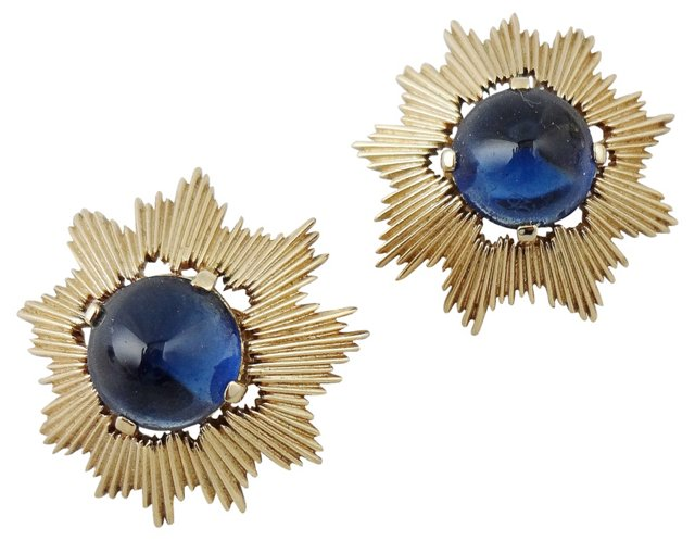 Trifari Faux-Sapphire Cabochon Earrings