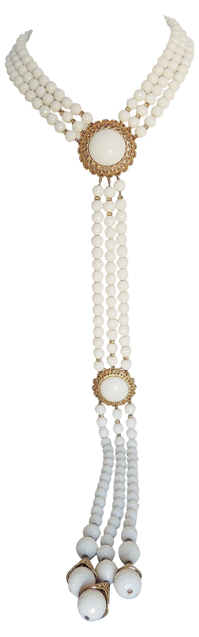 1970s Monet White Beaded Necklace